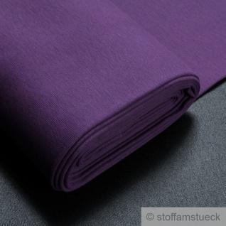 0, 5 Meter Stoff Baumwolle Elastan Bündchen lila 45 cm breit