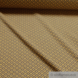 Recycelt Stoff Baumwolle Polyester Elastan Jacquard Jersey Raute grau ocker