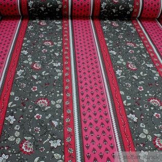 Stoff Baumwolle Provence grau Streifen Blumenranken pink hellgrau Indienne