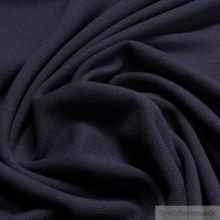 Stoff Baumwolle Piqué Jersey dunkelblau Polohemd T-Shirt breit dehnbar weich