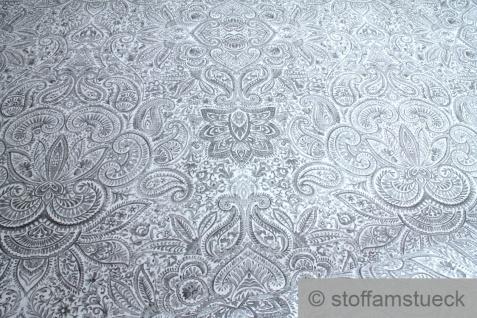 Stoff Ramie Baumwolle off-white Ornament grau bedruckt Leinenstruktur