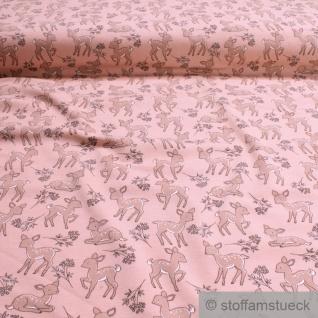0, 5 Meter Kinderstoff Baumwolle Elastan Single Jersey pastellrosa Rehkitz Reh