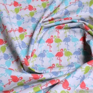 Stoff Kinderstoff Baumwolle Popeline off-white Flamingo bunt Baumwollstoff