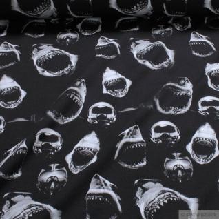 Stoff Kinderstoff Baumwolle Elastan Single Jersey schwarz Hai Taucherglocke