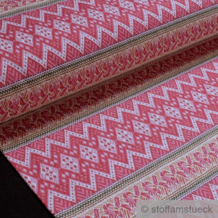 0, 5 Meter Stoff Recycelt Baumwolle Polyester Elastan Jacquard Jersey Zickzack rot