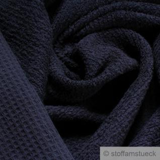 Stoff Baumwolle Frottee Waffelpiqué dunkelblau Waffelpikee Waffelpique