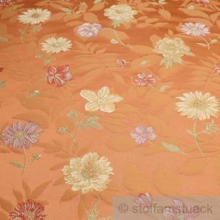 Stoff Baumwolle Jacquard orange Blumen Polsterstoff 25.000 Martindale