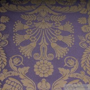 Stoff Polyester Baumwolle Jacquard Ornament klein taupe gold 280 cm breit lila - Vorschau 4