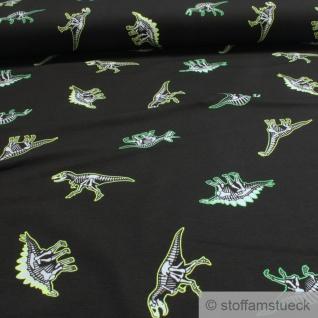 0, 5 Meter Kinderstoff Baumwolle Elastan Single Jersey schwarz Dino leuchtet