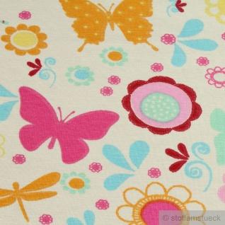 Kinderstoff Baumwolle Elastan Single Jersey ecru Blume Schmetterling Oeko-Tex - Vorschau 4