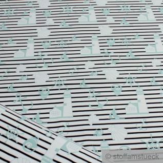 Stoff Baumwolle Elastan Single Jersey Streifen weiß schwarz Maritim türkis