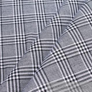 10 Meter Stoff Baumwolle Glencheck schwarz weiß fest robust Baumwollstoff Pepita