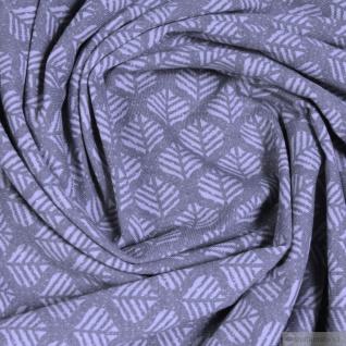 Stoff Baumwolle Elastan Single Jersey Blatt grau hellgrau Blättchen - Vorschau 2