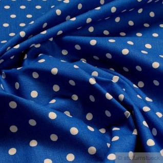 Stoff Baumwolle Punkte klein blau weiß Tupfen Baumwollstoff ozeanblau 160 cm