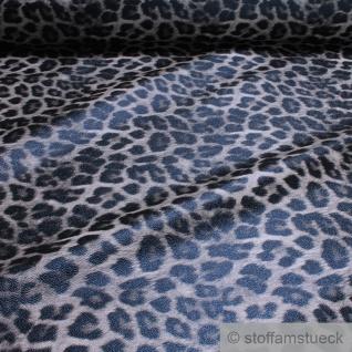 Stoff PVC Kunstleder Leopard grau Leo Tier Print Lederimitat