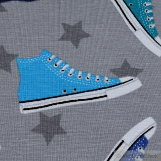 Stoff Baumwolle Elastan Single Jersey hellgrau Turnschuh Chucks Sneaker Stern - Vorschau 3