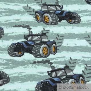 Stoff Baumwolle Elastan Single Jersey French Terry mint Traktor blau Trecker - Vorschau 2