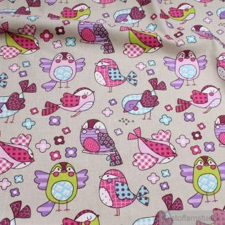 Stoff Kinderstoff Baumwolle Popeline beige Vogel bunt Baumwollstoff