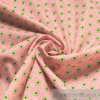 10 Meter Stoff Baumwolle rosa Prilblume hellgrün Baumwollstoff Blume