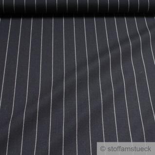 Stoff Schurwolle Polyester Nadelstreifen dunkelblau weiß knitterfrei
