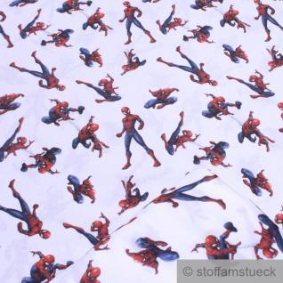 Stoff Kinderstoff Baumwolle weiß Superheld Spider-Man Baumwollstoff