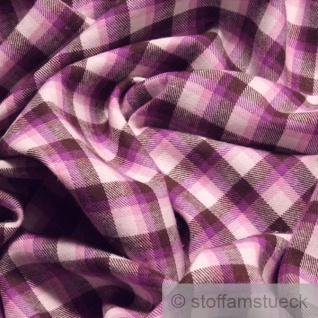 Stoff Baumwolle Flanell Karo dunkelbraun lila bügelarm Baumwollstoff