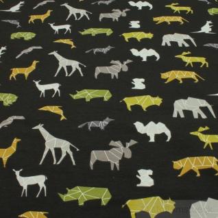 Stoff Kinderstoff Baumwolle Elastan Single Jersey anthrazit wilde Tiere Giraffe - Vorschau 3