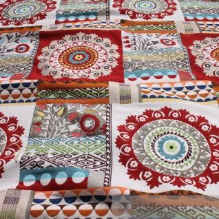Stoff Baumwolle Polyester Jacquard Rosette rot Blumen Blümchen Kreise Raute