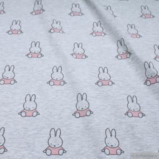 Stoff Baumwolle Single Jersey hellgrau Kaninchen Miffy rosa Nijntje