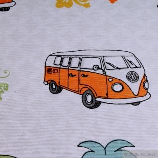 Stoff Baumwolle Polyester ecru VW Bulli T1 peace love surf - Vorschau 3