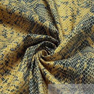 Stoff Baumwolle Lycra Köper gelb Schlange Hemd Bluse Rock Animal Print