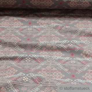 0, 5 Meter Stoff Baumwolle Elastan Single Jersey French Terry grau Ethno Tribal