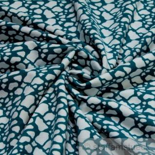 Stoff Baumwolle Lycra Single Jersey Klecks petrol weiß Öko-Tex Standard 100