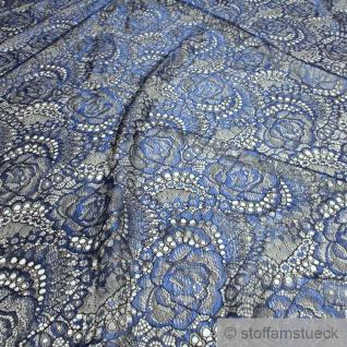 Stoff Polyamid Polyester Elastan Spitze schwarz Blume kobaltblau fließend weich