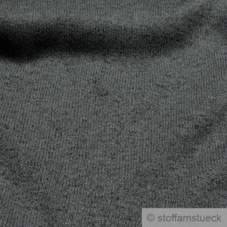 Stoff Polyester Single Jersey angeraut dunkelgrau meliert Alpenfleece weich