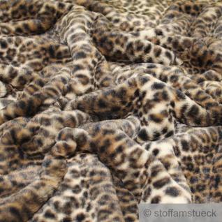 Stoff Polyester Fell Leopard Fellimitat Langflor Webpelz weich