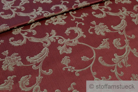 Stoff Baumwolle Polyester Jacquard bordeaux Ranke gold 280 cm breit