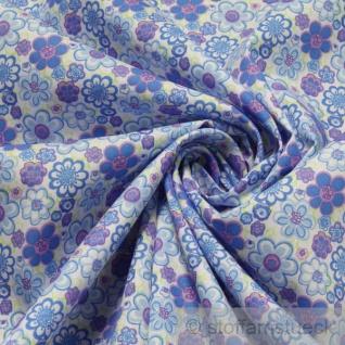 2 Meter Stoff Baumwolle Popeline weiß Prilblume blau Baumwollstoff Blume