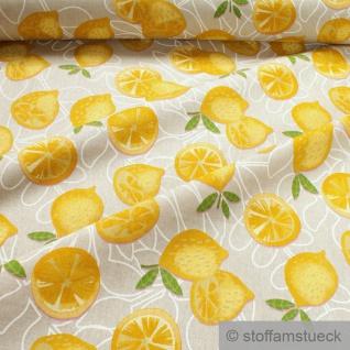 Stoff Baumwolle Polyester Rips natur Zitrone Leinenoptik