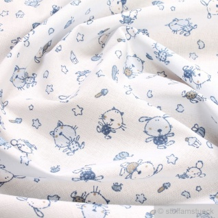 Stoff Kinderstoff Baumwolle Popeline weiß Hund Katze hellblau Baumwollstoff
