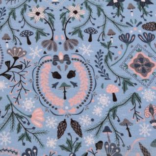 Stoff Baumwolle Elastan Single Jersey blau Eichhörnchen Vögel Eicheln Wald - Vorschau 4