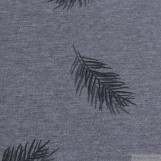 0, 5 Meter Baumwolle Polyester Elastan Single Jersey dunkelgrau meliert Feder - Vorschau 3