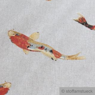 Stoff Baumwolle Polyester Rips natur Koi Karpfen Nishikigoi Spiegelkarpfen - Vorschau 3
