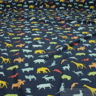 Stoff Kinderstoff Baumwolle Elastan Single Jersey dunkelblau wilde Tiere Giraffe