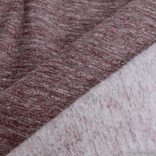 Stoff Baumwolle Polyester Elastan Single Jersey bordeaux angeraut Winter-Sweat - Vorschau 4
