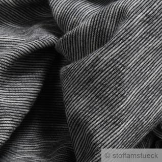 0, 5 Meter Baumwolle Single Jersey schwarz meliert Streifen leicht beidseitig - Vorschau 2
