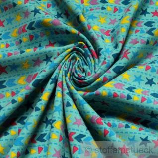 Stoff Kinderstoff Baumwolle Elastan Single Jersey aqua Stern Pfeil Öko-Tex