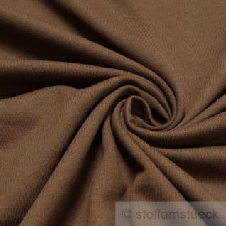 0, 5 Meter Stoff Baumwolle Single Jersey angeraut braun Sweatshirt weich dehnbar