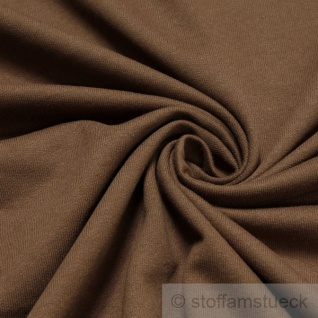 0, 5 Meter Stoff Baumwolle Single Jersey braun angeraut Sweatshirt weich dehnbar