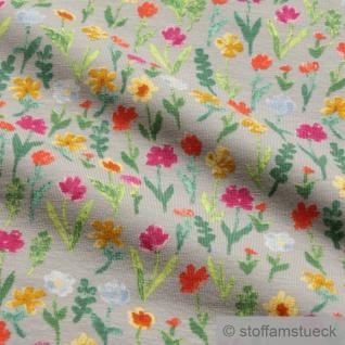 Stoff Baumwolle Elastan Single Jersey hellgrau Blume Blumen - Vorschau 2